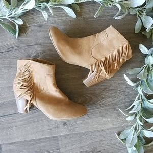 Chinese Laundry tan fringe ankle boots